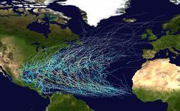 Trajectoire des ouragans de l'Atlantique de 1980 à 2005. Source : http://data.abuledu.org/URI/51f3f14e-trajectoire-des-ouragans-de-l-atlantique-de-1980-a-2005