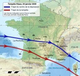 Trajet de la tempête Klaus de janvier 2009. Source : http://data.abuledu.org/URI/51cde9c5-trajet-de-la-tempete-klaus-de-janvier-2009