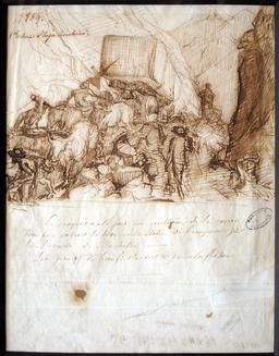 Transport d'un bloc de marbre en 1869. Source : http://data.abuledu.org/URI/53b3ae05-transport-d-un-bloc-de-marbre-en-1869