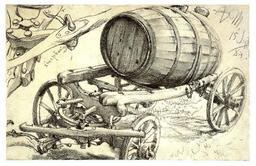 Transport de tonneau sur charroi. Source : http://data.abuledu.org/URI/51db60f9-transport-de-tonneau-sur-charroi
