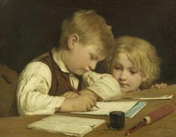 Travail d'écolier au XIXème siècle. Source : http://data.abuledu.org/URI/519fa8b4-travail-d-ecolier-au-xixeme-siecle