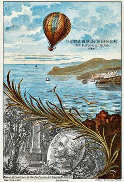 Traversée du Pas-de-Calais en ballon en 1785. Source : http://data.abuledu.org/URI/51b04cd2-traversee-du-pas-de-calais-en-ballon-en-1785