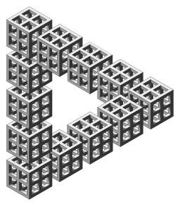 Triangle impossible avec douze dés. Source : http://data.abuledu.org/URI/53ccf90a-triangle-impossible-avec-douze-des