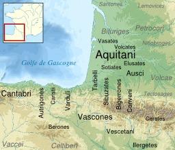Tribus aquitaines à l'époque romaine. Source : http://data.abuledu.org/URI/5074a160-tribus-aquitaines-a-l-epoque-romaine