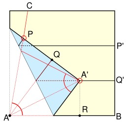 Trisection d'un angle et origami. Source : http://data.abuledu.org/URI/52f4b586-trisection-d-un-angle-et-origami