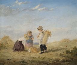 Trois enfants après la moisson en 1870. Source : http://data.abuledu.org/URI/58caed12-trois-enfants-apres-la-moisson-en-1870