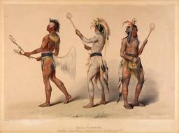 Trois joueurs de crosse indiens au dix-neuvième siècle. Source : http://data.abuledu.org/URI/5356b93d-trois-joueurs-de-crosse-indiens-au-dix-neuvieme-siecle