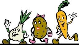 Trois personnages légumes souriants. Source : http://data.abuledu.org/URI/54068160-trois-personnages-legumes-souriants