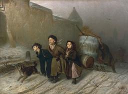 Trois petits transporteurs d'eau en 1866. Source : http://data.abuledu.org/URI/58cb2eef-trois-petits-transporteurs-d-eau-en-1866