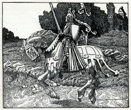 Un chevalier du roi Arthur en 1903. Source : http://data.abuledu.org/URI/59504238-un-chevalier-du-roi-arthur-en-1903