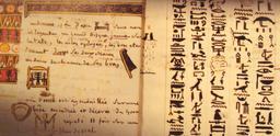 Une page de Champollion. Source : http://data.abuledu.org/URI/531c693f-une-page-de-champollion