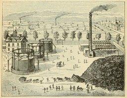 Usine à gaz au XIXème siècle. Source : http://data.abuledu.org/URI/524efae5-usine-a-gaz-au-xixeme-siecle