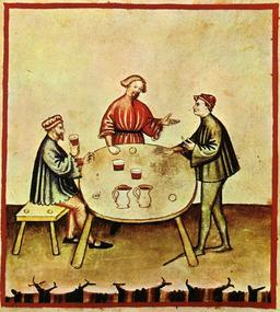 Vie quotidienne au Moyen Age : l'ivresse. Source : http://data.abuledu.org/URI/50cae016-vie-quotidienne-au-moyen-age-l-ivresse