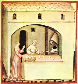 Vie quotidienne au Moyen Age : la boulangerie. Source : http://data.abuledu.org/URI/50cb0956-vie-quotidienne-au-moyen-age-la-boulangerie