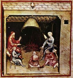 Vie quotidienne au Moyen Age : la veillée. Source : http://data.abuledu.org/URI/50cae7e6-vie-quotidienne-au-moyen-age-la-veillee