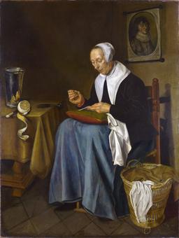Vieille femme faisant de la couture en 1655. Source : http://data.abuledu.org/URI/5335c575-vieille-femme-faisant-de-la-couture-en-1655
