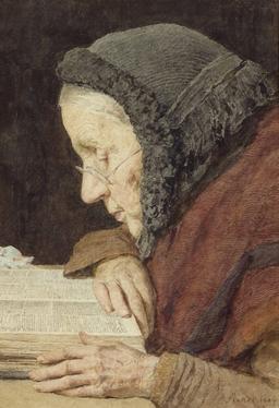 Vieille femme lisant. Source : http://data.abuledu.org/URI/519faa75-vieille-femme-lisant