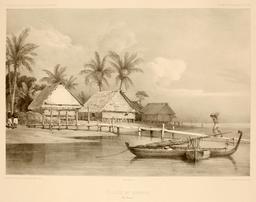 Village de Warrou dans les Moluques en 1838. Source : http://data.abuledu.org/URI/5981672a-village-de-warrou-dans-les-moluques-en-1838