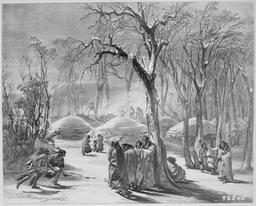 Village indien en hiver en 1833. Source : http://data.abuledu.org/URI/53b947b1-village-indien-en-hiver-en-1833