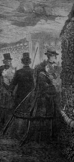 Visite des Catacombes en 1860. Source : http://data.abuledu.org/URI/5142f543-visite-des-catacombes-en-1860