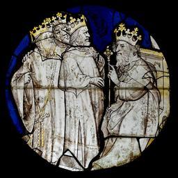 Vitrail d'Hérode et des rois mages. Source : http://data.abuledu.org/URI/586ebe8a-vitrail-d-herode-et-des-rois-mages