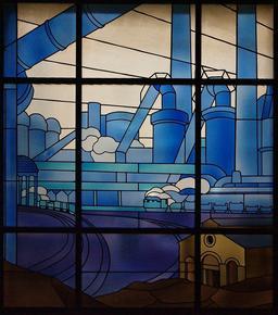 Vitraux Majorelle des grands bureaux des aciéries de Longwy. Source : http://data.abuledu.org/URI/504f9c22-vitraux-majorelle-des-grands-bureaux-des-acieries-de-longwy