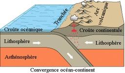 Volcanisme au niveau de la convergence océan-continent. Source : http://data.abuledu.org/URI/50a00e00-volcanisme-au-niveau-de-la-convergence-ocean-continent