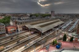 Vue aérienne de la gare de Toulouse-Matabiau. Source : http://data.abuledu.org/URI/56573d53-vua-aerienne-de-la-gare-de-toulouse-matabiau