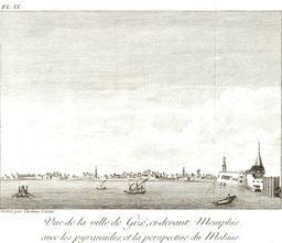 Vue de Gizeh en 1799. Source : http://data.abuledu.org/URI/591e2639-vue-de-gizeh-en-1799