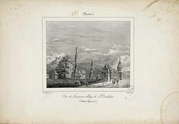 Vue de l'ancienne abbaye de l'Escaladieu en 1827. Source : http://data.abuledu.org/URI/570126c0-vue-de-l-ancienne-abbaye-de-l-escaladieu-en-1827
