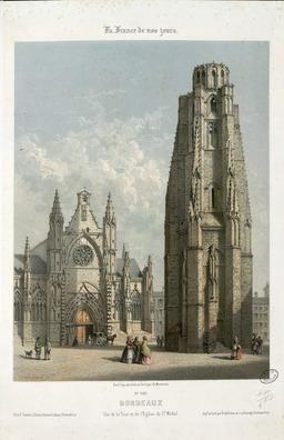 Vue de la Tour et de l'Eglise de St. Michel. Source : http://data.abuledu.org/URI/55476a62-vue-de-la-tour-et-de-l-eglise-de-st-michel-