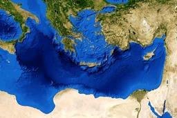 Vue du bassin méditerranéen oriental. Source : http://data.abuledu.org/URI/5263a44c-vue-du-bassin-mediterraneen-oriental