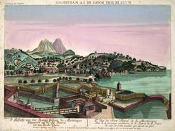 Vue du Fort Royal de la Martinique vers 1750. Source : http://data.abuledu.org/URI/50f71eb7-vue-du-fort-royal-de-la-martinique-vers-1750