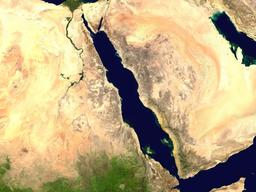 Vue satellite de la Mer Rouge. Source : http://data.abuledu.org/URI/541d3eba-vue-satellite-de-la-mer-rouge