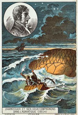 Zambeccari et ses deux compagnons dans l'Adriatique en 1804. Source : http://data.abuledu.org/URI/5521c39c-zambeccari-et-ses-deux-compagnons-dans-l-adriatique-en-1804