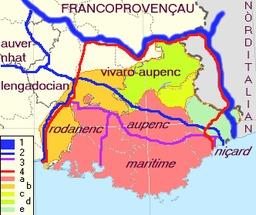 Zone de diffusion du provençal. Source : http://data.abuledu.org/URI/51c9fa8c-zone-de-diffusion-du-provencal