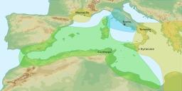 Zones d'influence antiques en Méditerranée. Source : http://data.abuledu.org/URI/520d00ed-zones-d-influence-antiques-en-mediterranee