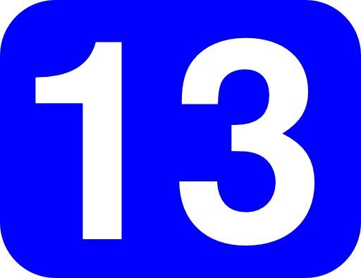 13 en blanc sur fond bleu