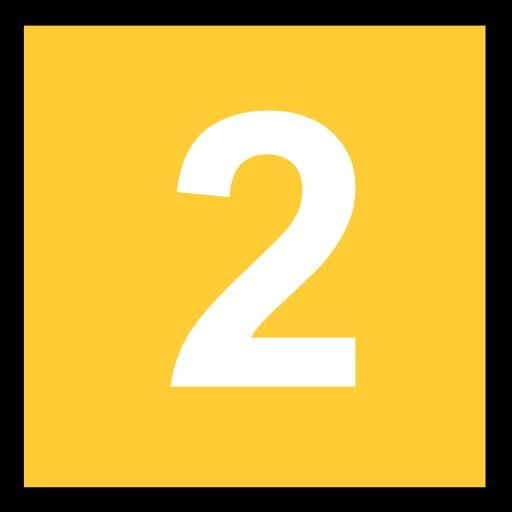 2 blanc sur fond jaune