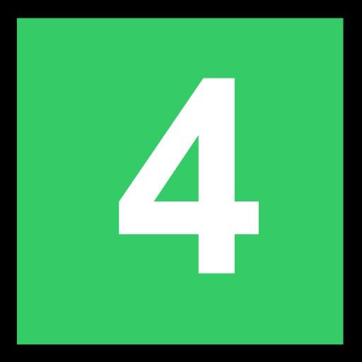 4 blanc sur fond vert