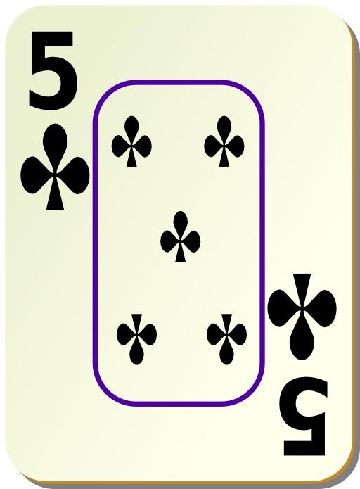 5 de trèfle noir