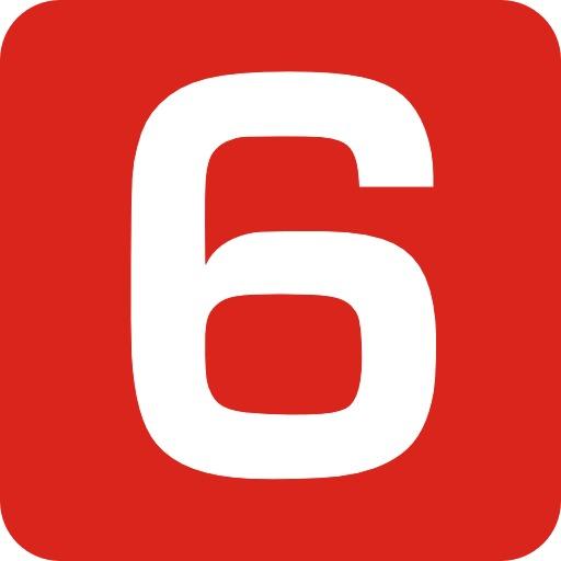 6 en blanc sur fond rouge