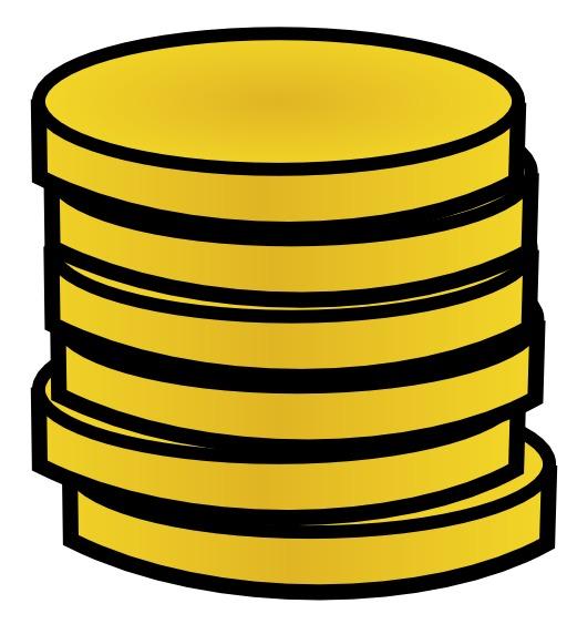 6 pièces d'or en pile