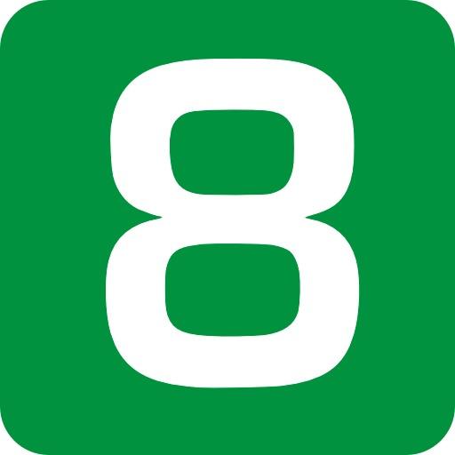 8 en blanc sur fond vert