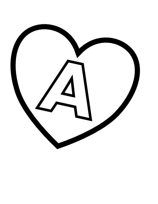 La lettre A dans un coeur