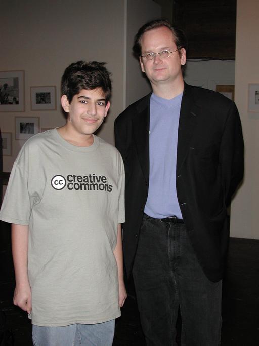 Aaron Swartz et Lawrence Lessig en décembre 2002