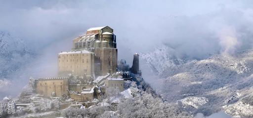 Abbaye Saint-Michel-de-la-Cluse sous la neige