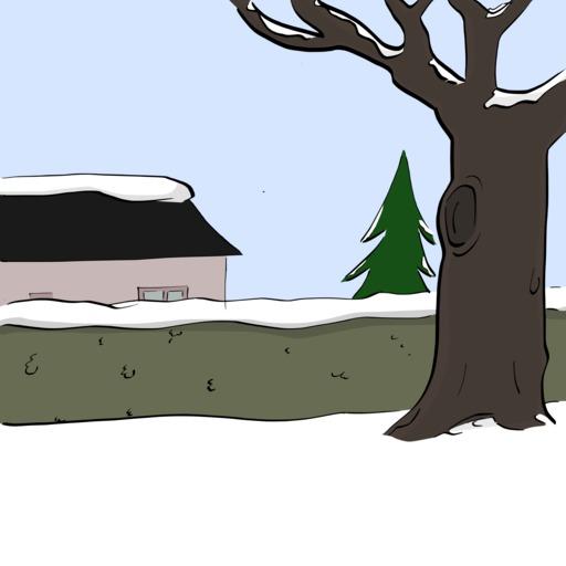 Abel et Bellina dans la neige - décor