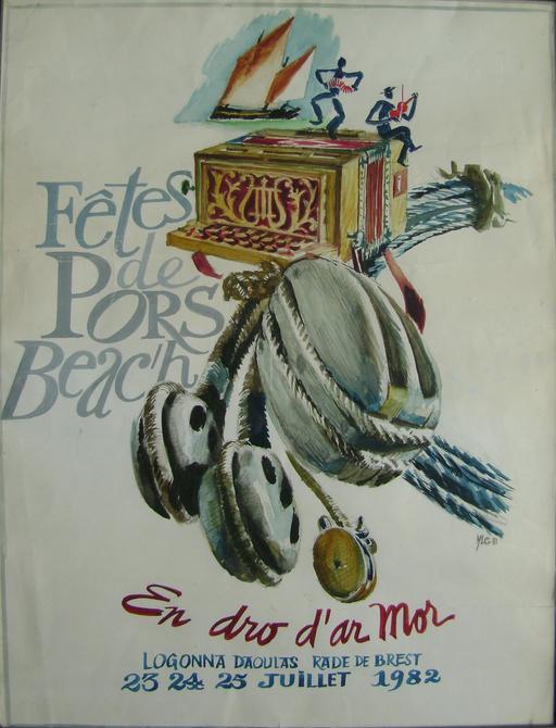 Affiche bilingue des fêtes de Pors Beac'h en 82