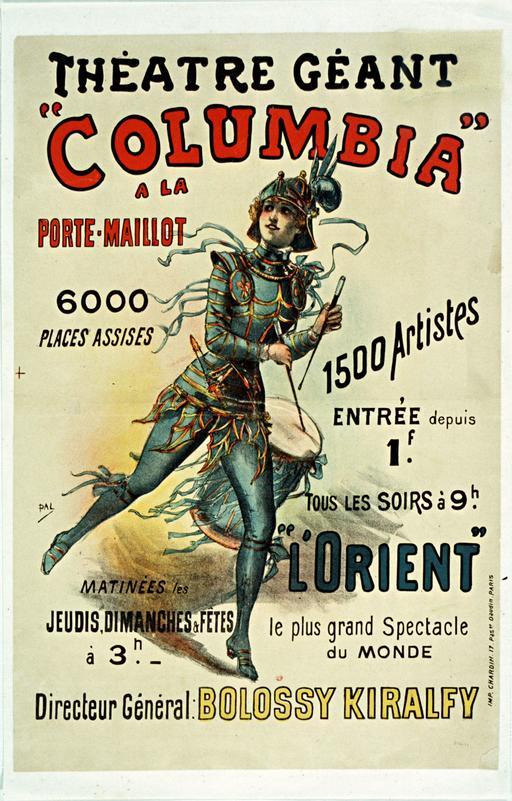 Affiche du théâtre Columbia en 1890